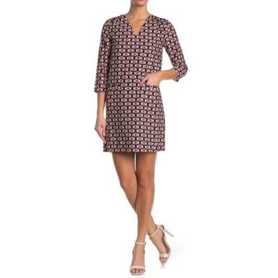シーユースーン レディース ワンピース トップス Long Sleeve V-Neck Patterned Dress WINE/GREEN
