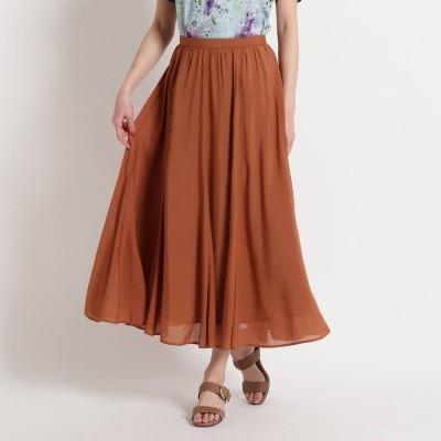 スーナウーナ SunaUna 【洗える】シルキーローン フレアロングスカート (キャメル)