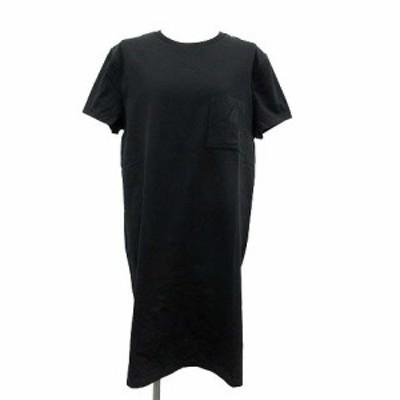 【中古】未使用品 エルメス HERMES 21SS ワンピース Tシャツ 半袖 ひざ丈 マイクロ 刺繍 42 L 黒 ブラック /KH レディース