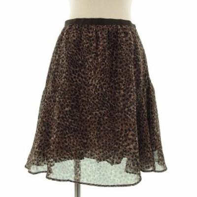 【中古】ドゥーズィエムクラス DEUXIEME CLASSE スカート ひざ丈 フレアー レオパード 豹柄 ブラウン系 茶 36 レディース