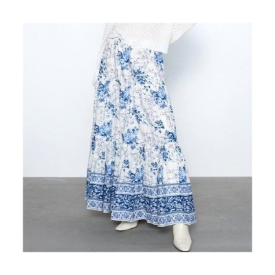 スカート レディース マキシ丈 ロングスカート 花柄 ウエストゴム アジアン