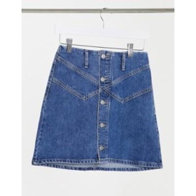 トップショップ レディース スカート ボトムス Topshop button front denim mini skirt in mid blue Blue