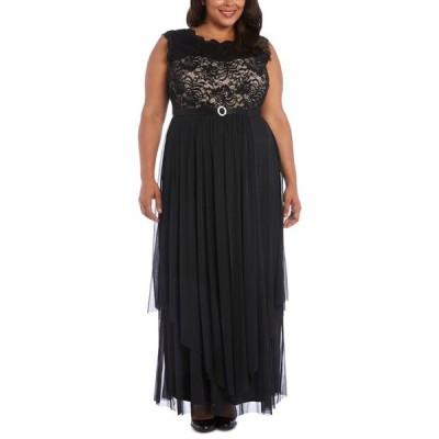 アールアンドエムリチャーズ レディース ワンピース トップス Plus Size Embroidered Lace A-Line Gown