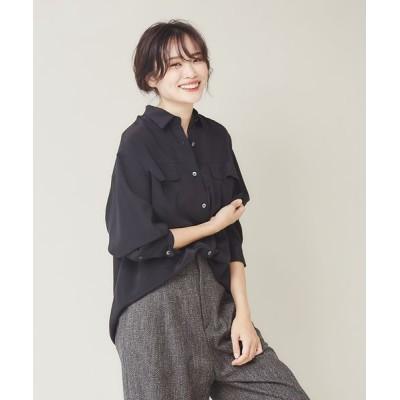 qualite/カリテ シルクオーバーシャツ ブラック 38