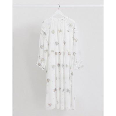 ロストインク レディース ワンピース トップス Lost Ink midaxi dress with frill sleeve detail and floral embroidery White