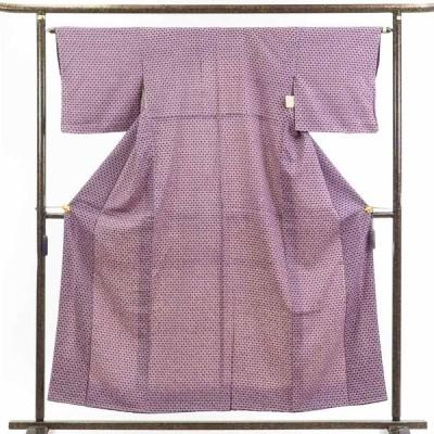 リサイクル着物 小紋 正絹紫地蝶柄袷小紋着物