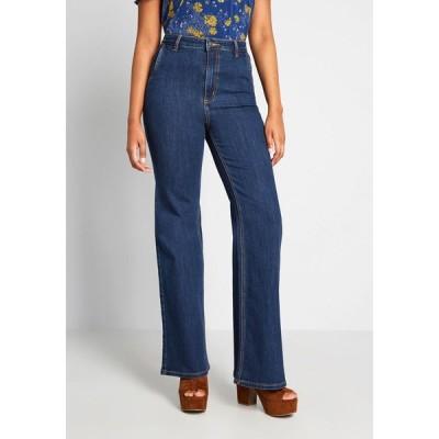 モドクロス ModCloth レディース ジーンズ・デニム ボトムス・パンツ the grier wide-leg jeans dark blue