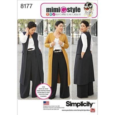 Simplicity 8177 プラスサイズ パンツベストまたはジャケット、トップソーイングパターン レディース Mimi G Style Size