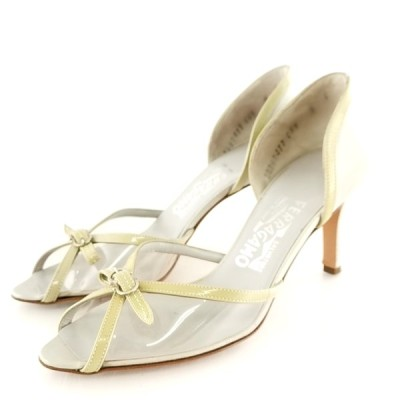 送料無料 サルヴァトーレフェラガモ Salvatore Ferragamo パンプス 靴 シューズ オープントゥ 伊製 ビニール 6 23cm相当 レディース