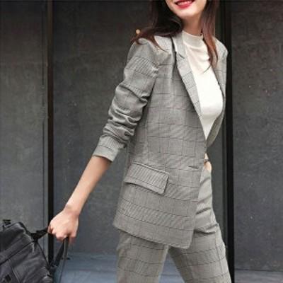 【laurier】レディーススーツセット スーツ 上下セット 2点 面接 事務服 オフィス 通勤 フォーマル おしゃれ 細身作り 気質優雅 着痩せ