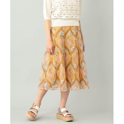 GRACE CONTINENTAL リーフフラワー刺繍スカート イエロー 36