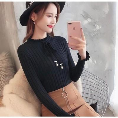 即納 レディース ニットウェア カジュアル ロングTシャツ ス トップス      韓国ファッション ニット/長袖 セーター