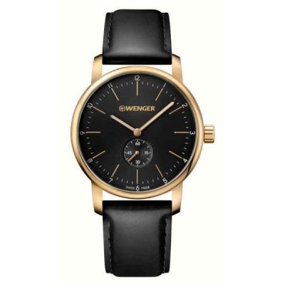 ウェンガー 腕時計 Wenger 01.1741.101 メンズ Black Dial Yellow Steel Leather Band Watch