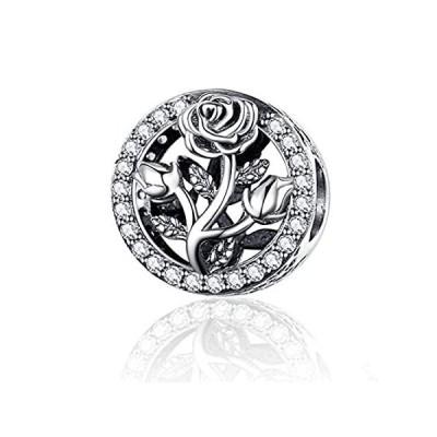 特別価格Annmors Rose Flower Charm for Woman-925 Sterling Silver Dangle Pendant Bead好評販売中