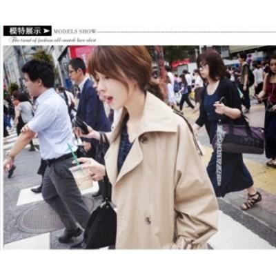 冬服 韓国 レディース トレンチコートレディースカーキトレンチコートロングダブルボタン韓国風アウタージャケットベルト付い通勤体型カ