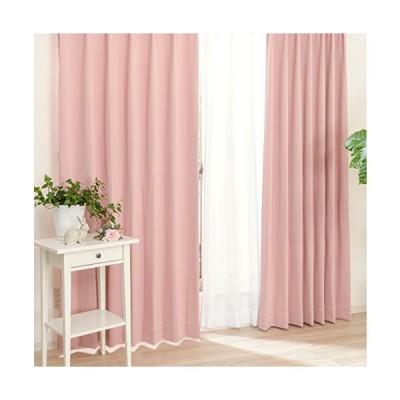 遮光 厚地カーテン2枚 と ミラーレースカーテン2枚 の セット 「アルコン4枚入」 ピンク (幅150cm X 丈200cm ・ 厚地2枚