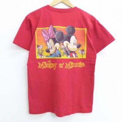 古着 半袖 Tシャツ 90年代 90s ディズニー DISNEY ミッキー MICKEY MOUSE ミニー クルーネック 赤 レッド Mサイズ 中古 メンズ Tシャツ