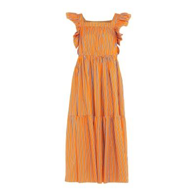 WEILI ZHENG ロングワンピース&ドレス オレンジ S コットン 100% ロングワンピース&ドレス