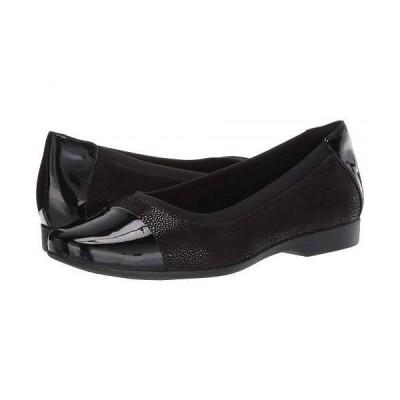 Clarks クラークス レディース 女性用 シューズ 靴 フラット Un Darcey Cap - Black Nubuck/Leather Combination