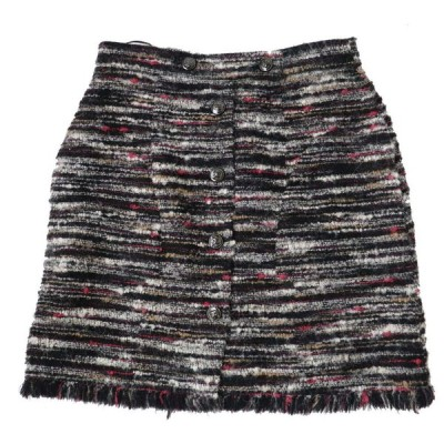 美品◎正規品 フランス製 CHANEL シャネル P41816 レディース ココマークボタン付き ミックスツイード 台形スカート ブラック×マルチ 38