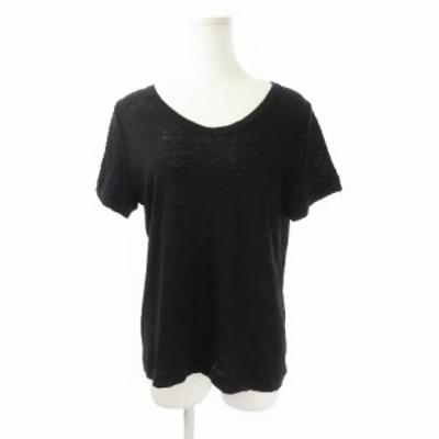 【中古】マオメイド mao made Tシャツ カットソー Vネック 半袖 薄手 麻 リネン F 黒 ブラック /YH13 ☆ レディース
