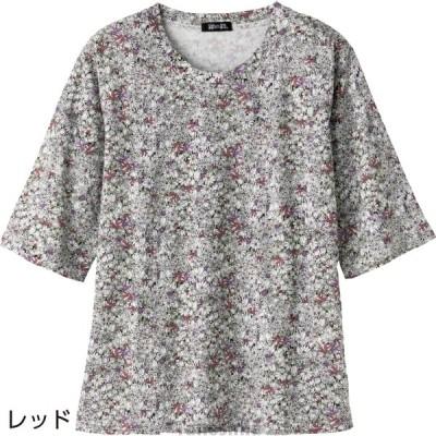 5分袖花柄Tシャツ シニア向け 婦人用 レディース 2021春夏ファッション