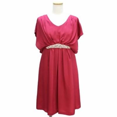 (美品)ストロベリーフィールズ パールビジューモチーフ ワンピース ドレス ローズ M ピンク