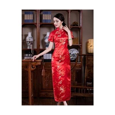 チャイナドレス 梅柄 ロング 半袖 サイズ:L 色:赤