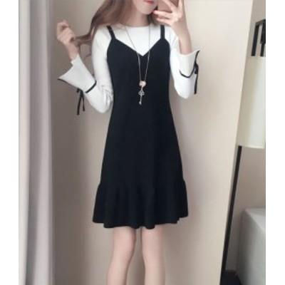 ラウンドネック長袖ニットツーピース風ドレス