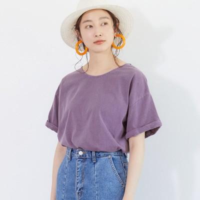 コカ coca カットソー レディース Tシャツ ピグメント ウォッシュ加工 半袖 ロールアップ 無地 綿100% コットン (Purple)