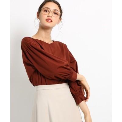 tシャツ Tシャツ [S]【ハンドウォッシュ】コットン(綿)混シャーリング袖バックスリットプルオーバー