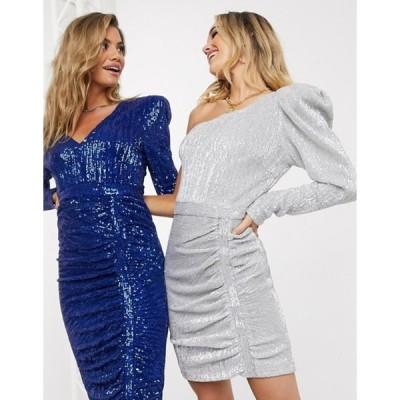 ラビッシュアリス レディース ワンピース トップス Lavish Alice structured one shoulder sequin mini dress in silver