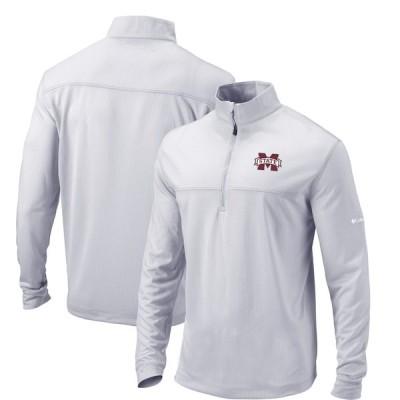 """メンズ ジャケット """"Mississippi State Bulldogs"""" Columbia Soar Quarter-Zip Pullover Jacket - Gray"""