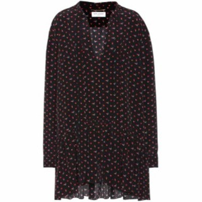 イヴ サンローラン Saint Laurent レディース ワンピース ワンピース・ドレス Printed silk minidress Noir Rouge