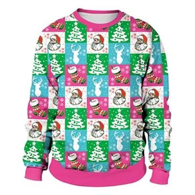 レディースクリスマスデイロングスリーブラウンドカラースウェットプリントパターンプルオーバークリスマスセータースウェットルーズ(s2111133087)