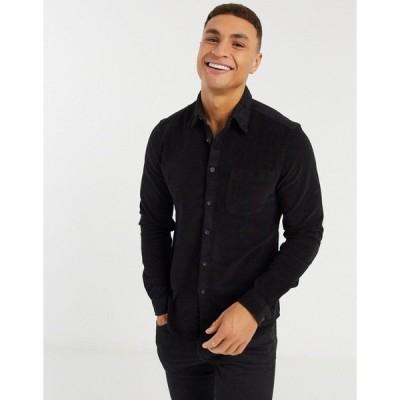 エイソス メンズ シャツ トップス ASOS DESIGN slim fit cord shirt in black Black