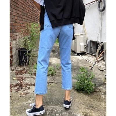 thanksmerry レディース ジーンズ Mimi Side Split Crop Straight Jeans