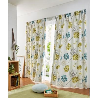 ラインフラワー柄遮光カーテン ドレープカーテン(遮光あり・なし) Curtains, blackout curtains, thermal curtains, Drape(ニッセン、nissen)