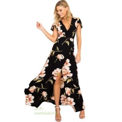 新しい女性ドレス夏 2019 ボヘミアンディープ V ネック女性ドレスシフォンビーチマキシドレス Vestidos サイズ S XL グループ上 レディース衣服 から ドレス