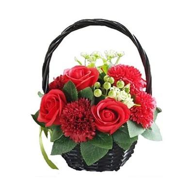 ソープフラワー 花かご レッド 母の日 ギフト 2020 フラワーアレンジメント シャボンフラワー 造花 母の日のプレゼント 枯れない 花(レッド)