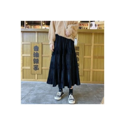 【送料無料】ゴールドのベルベット 切り替え半身裙スカート 秋冬 女 年 ハイウエスト | 364331_A64052-1342117