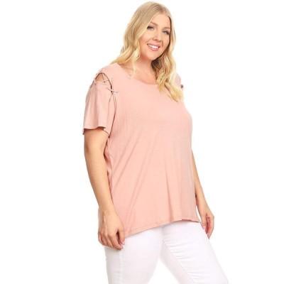 Ambiance Apparel Women's Junior Short Sleeve Round Neck Plus Size Shir