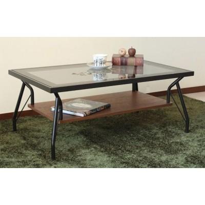長方形ガラステーブル 90センチ巾 スチールフレーム メリオ