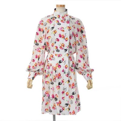 ルイ・ヴィトン ボタンアップドレス ワンピ-ス チューリップ 花柄 サイズ34 国内正規品 ブランドピース