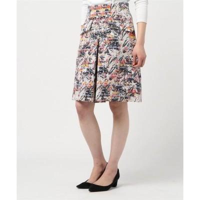 スカート マルチカラージャガードボックスミニスカート