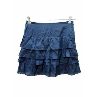 【中古】アルアバイル allureville スカート フレア ミニ ティアード 1 紺 ネイビー /YK レディース
