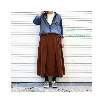 レディース 送料無料 コーデュロイ フリーサイズ ストラップ スカート ボタン ブラウン マキシ丈