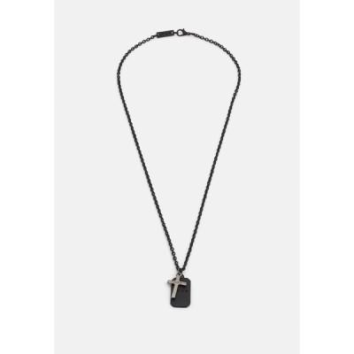 アイコンブランド ネックレス・チョーカー メンズ アクセサリー CROSS AND DOG TAG NECKLACE - Necklace - black