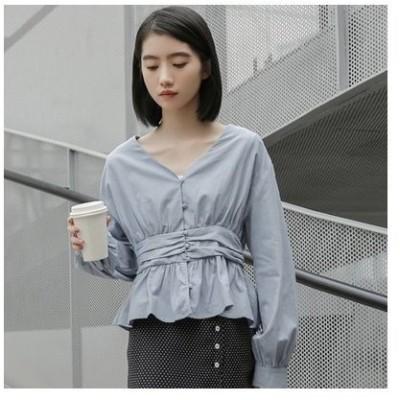 きれいめ上品ブラウストップスブラウスレディース白きれいめトップスシャツVネック長袖wear.com