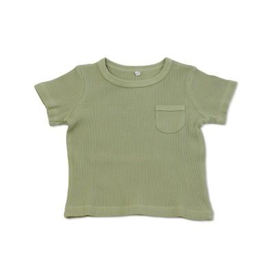 (KIDS FASHION STATION/キッズファッションステーション)ワッフル半袖Tシャツ/ カーキ